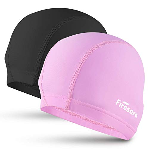 Firesara Lycra Swim Cap, High Elasticity Swimming Cap Keeps Hair Clean Breathable Fit Both Long Hair Short Hair, Swim Caps Woman Girls Men Kids One Size Hat
