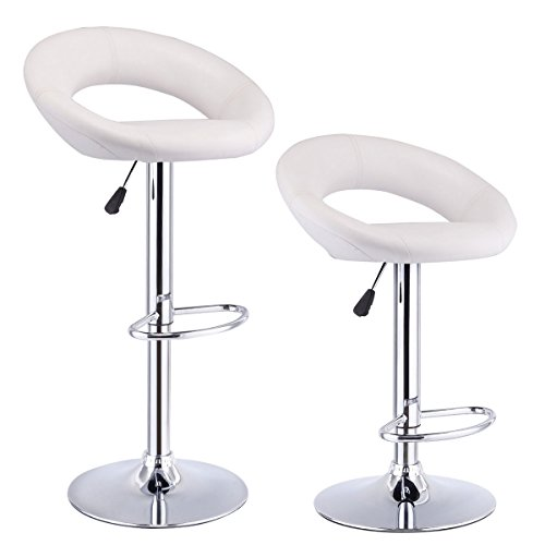 COSTWAY Set of 2 Bar Stool Pub Modern Adjustable Swivel Hydraulic, Chrome Plated Footrest and Base for Bar, Counter or Home (Base Footrest)
