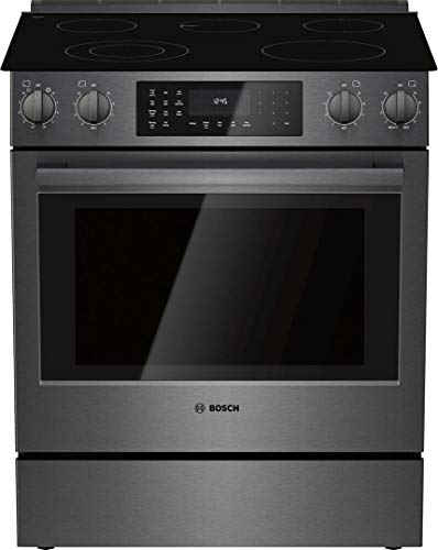"""Bosch HEI8046U 30"""""""" 800 Series Slide-in Electric Range with 5 Elements 4.6 cu. ft. Capacity European Convection and Warming Drawer in Black Stainless Steel"""