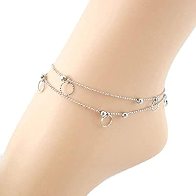 SusenstoneDouble Small Circle Anklet Bracelet Sandal Barefoot Beach Foot Jewelry free shipping