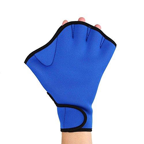 Efanr 1 Pair Training Aqua Fit Swim Webbed Gloves Aquatic Fitness Water Resistance Gloves for Women Men Children (Blue, (Denim Oven)