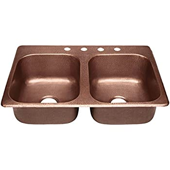 Rockwell Farmhouse Apron Front Handmade Pure Solid Copper 33 in ...