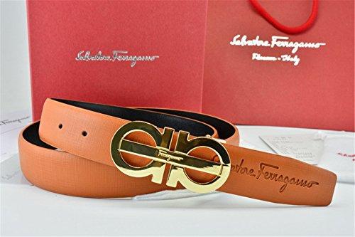 [Ferragamo Belt Reversible Big Gold Buckle Brown Leather Belt] (Big Gold Belt)
