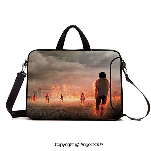 AngelDOU Portable Ultrabook Soft Sleeve Laptop Bag Case Cover Group of People in Flame in The Water Under Storm Clouds Image Compatible with MacBook Asus Acer HP Pearl Egg Shell Vermilion ()