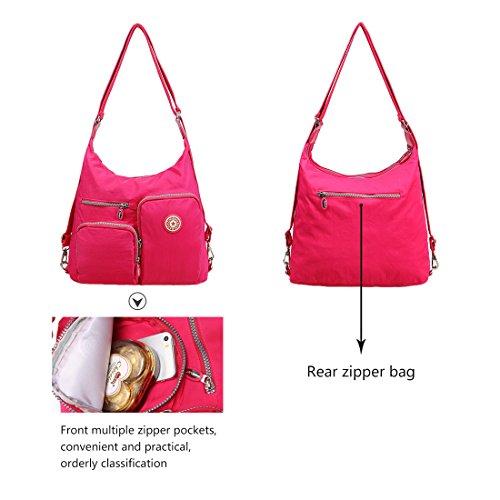Satchel Women Shoulder Multi Black Bag Artwell Handbag Convertible Pockets Backpack Purse Ladies for Hobo Bag Crossbody PwqUf