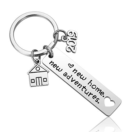 New Home Keychain 2019 Housewarming Gift for New Homeowner House Keyring Moving in Key Chain New Home Owners Jewelry from Real Estate Agent]()