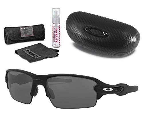 Oakley Flak 2.0 Sunglasses (Matte Black Frame, Black Iridium Lens), Lens Cleaning Kit and Ellipse O Carbonfiber Hard ()