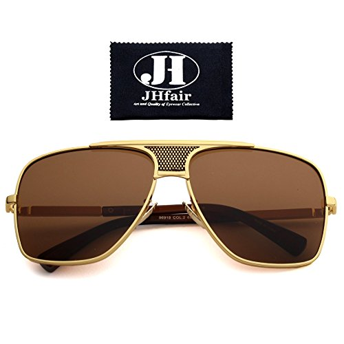 JHfair Brand Designer Large Square Aviator Fashion Mens - Gold Aviator Sunglasses Rimmed