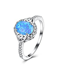 WIBERN Lovely Sky Blue Oval Fire Opal Engagement Band Platinum Plated Ring for Women Best Gift