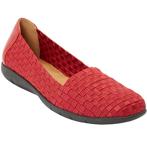 Comfortview Women's Plus Size The Bethany Flat - Classic Red, 10 W