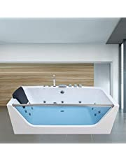 Empava 59 in. Acrylic Alcove Whirlpool Bathtub-Hydromassage Rectangular Jetted Soaking Tub with Center Drain-Waterfall Faucet, White