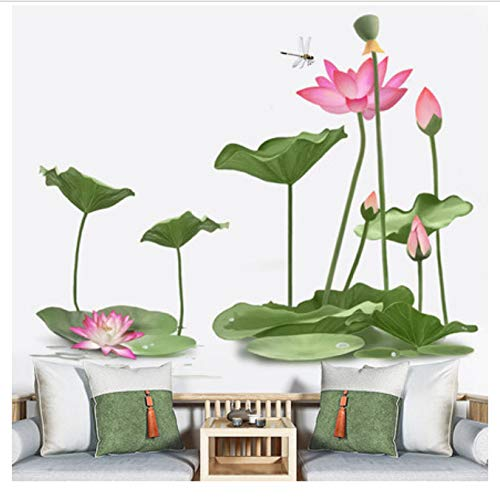 hfwh Pegatinas de Pared, 3D Lotus Wallpaper Sala De Estar Decoracion De La Pegatinas De Pared DIY Flor Dormitorio Adhesivo Cartel Mural 79x97cm