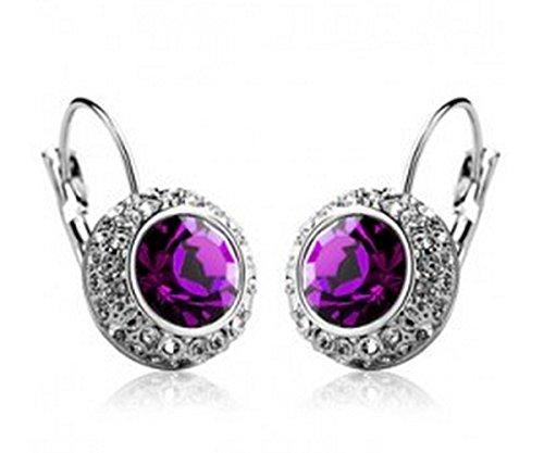 KATGI Fashion Brilliant Round Crystal Earrings in (Asian Purple Earrings)