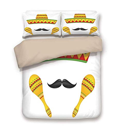 ALLMILL Duvet Cover Set,Back of Khaki,Mexican Decorations,Famous Centerpiece Icons Sombrero Moustache Rumba Shaker Mesoamerican Image,Yellow,Decorative 3 Pcs Bedding Set by 2 Pillow Shams,Twin