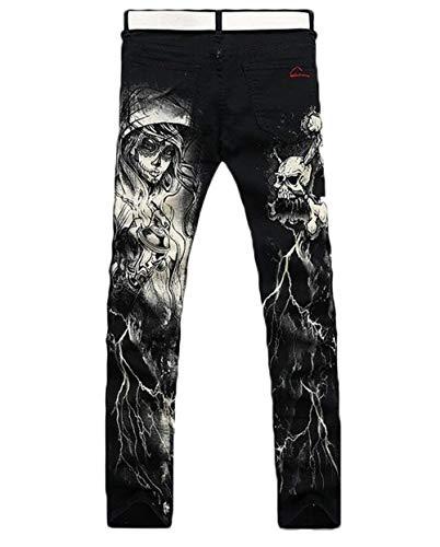 Ragazzi Stampa Nero Fit Slim Chino Jeans Denim Trend Giovane Wolf Straight Pantaloni Uomo Style1 Bwf4xqWg
