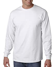 Gildan Ultra Cotton 6 oz. Long-Sleeve T-Shirt, Large, WHITE