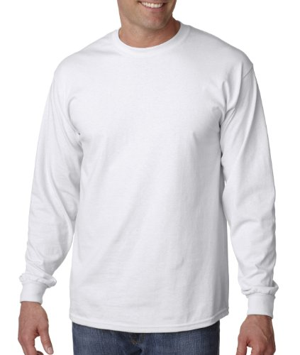 Gildan 6.1 oz Ultra Cotton Long-Sleeve T-shirt G240, White, XL