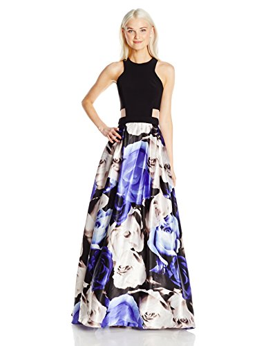 Blondie Nites Junior's Long Ity Top Cutout Sides Print Skirt, Black/White/Blue, 3