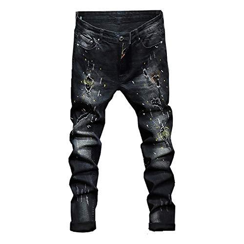Pantalones Tinta Básicos Pantalones De Negro Tendencia Agujero Vaqueros Hombres Salpicaduras Rebordear Los De Rectos Hombres De Los Pantalones Pantalones Largos Parche WJP w0H6qw
