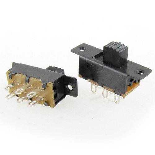 uxcell 10 Pcs SS22F25-G5 2 Position DPDT 2P2T Panel Mount Mini Slide Switch Solder -
