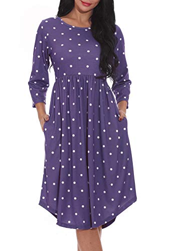 r Dresses Loose Causal Midi Swing Dresses with Pockets (M, Blue) ()