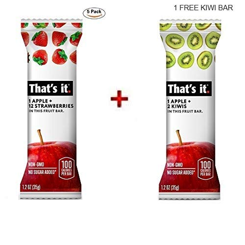 That's it. Apple + Strawberry 100% Natural Real Fruit Bar, Best High Fiber Vegan, Gluten Free Healthy Snack, Paleo for Children & Adults, Non GMO No Added Sugar, No Preservatives Energy Food (5 Pack)