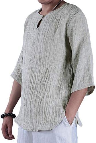 TENGGO Hombres Vintage Algodón Transpirable Cómodo O-Cuello Media Manga Camisetas Camisetas-Gris Claro-5Xl: Amazon.es: Hogar