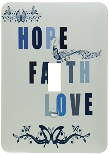 3dRose lsp_151981_1 Hope, Faith & Love Blue Butterflies Inspirational Art Single Toggle Switch by 3dRose