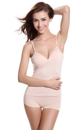 Women Modal Wire Free Padded Sweetheart Neckline Underwear Camisole Tank (M (B-C), Nude)