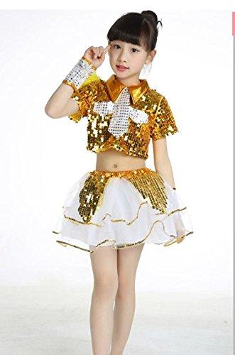 QXJ Danza jazz costumi bambini danza costume per ragazze scuola materna hip-hop  danza paillettes vestito da ballo vestiti bambini  15a8f966c878
