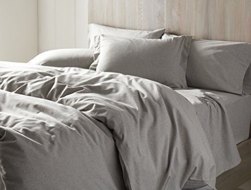 Coyuchi Cloud Brushed Organic Flannel Sheet Set, King, Pale Gray Heather ()