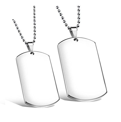 (Lenrunya Jewelry Silver-tone 2 PCS Stainless Steel Blank Pendant Necklace Double Dog Tag)