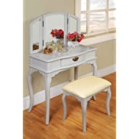Williams Home Furnishing White Tri-mirror Vanity