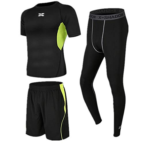 Fitness suit Sportswear Mens Dry Short Sleeve Compression Set Fitness Clothing 3 In 1 Set With Short Sleeve,running…