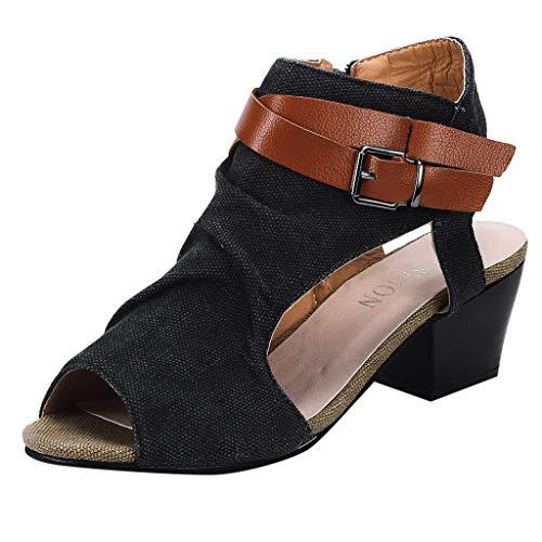 Chaussures Kaki Respirant De Sandales Toe Peep Carré Romain Femmes Gris Avec Cheville Mode Sunnywill Tissu Talon Poisson Sac Dames Noir Zipper Wqn0gqTR