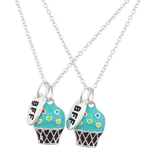 - Lux Accessories Silver Tone Turq Cupcakes BFF Best Friends Necklace Set (2PCS)
