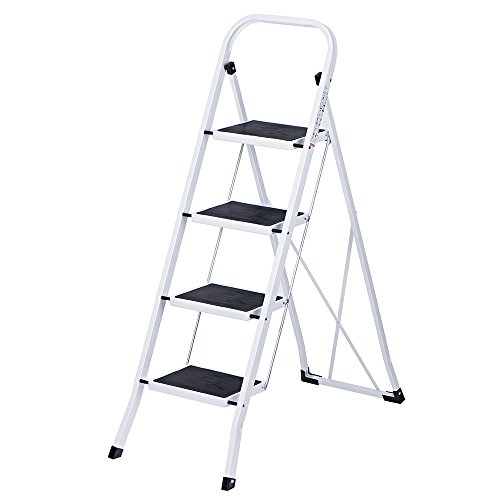 Delxo Folding 4 Step Ladder With Plastic Cushion 330lbs