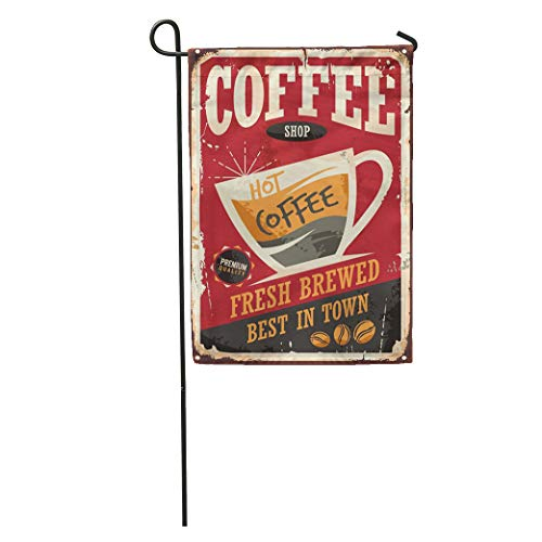 Coffee Retro Tin Sign on Red Cafe Bar Interior Promotional Home Yard Decor Barnner Outdoor Stand 12x18 Inches Flag ()
