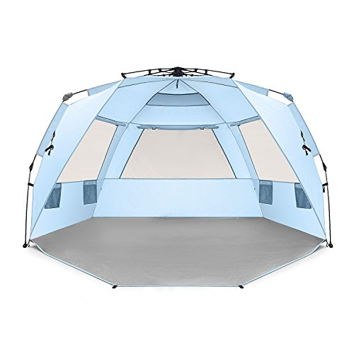 Easthills Outdoors Easy Up 4 Person Beach Tent Sun Shelter Deluxe XL - Extended Zippered Porch Included