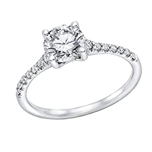 IGI Certified 14k white-gold Round Cut Diamond Engagement Ring (0.52 cttw, F Color, SI1 Clarity) - size 6.5