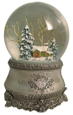 Vintage Christmas Snow Globes.Roman 5 5 Cottage With Tree Glitter Silver Base 100mm Dome Plays I Ll Be Home For Christmas
