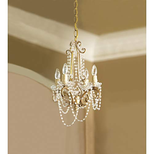 14″ Antique Gold 4-Arm Frame Clear Beaded Chandelier NEW