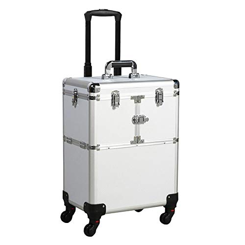 Professional Makeup Case - Yaheetech 19'' Professional Rolling Makeup Case Cosmetic Train Case Trolley Beauty Train Case Cosmetic Organizer w/Handle 1 Well-Designed Mirror Included Silver