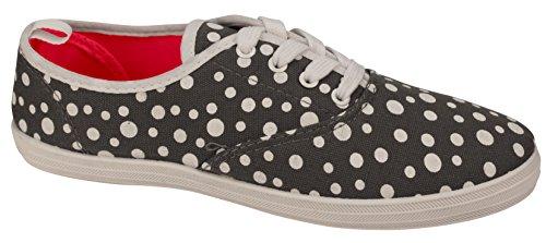 Ta En Promenad I Womens Fashion Duk Spets-up Sneaker - Utskrifter Och Mono Färger Grå Prick