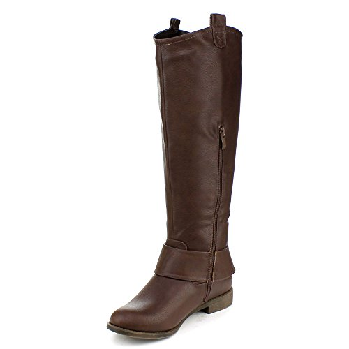 Dbdk Womens Jencly-2 Knee High Riding Boots With Buckle Brown kpRvqU74