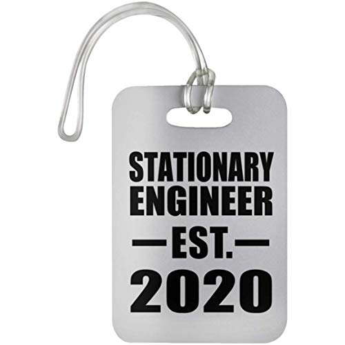 Stationary Engineer Established EST. 2020 - Luggage Tag Bag-gage Suitcase Tag Durable Plastic - Gift for Friend Colleague Retirement Graduation Mother's Father's Day Birthday Anniversary