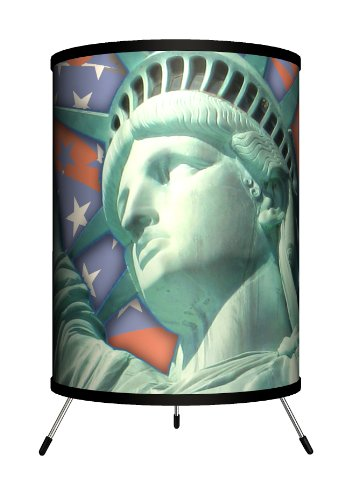 Lamp-In-A-Box TRI-TRV-FLLIB Travel - Flag with Statue of Liberty Tripod Lamp, 14