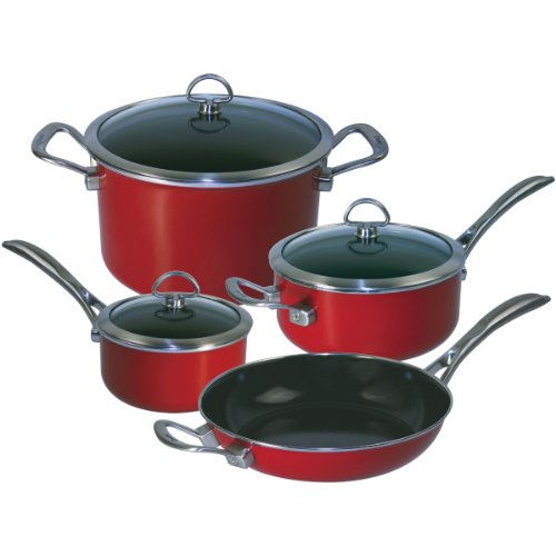 Chantal 7-Piece Copper Fusion Cookware Set-Chili Red, Dishwasher safe