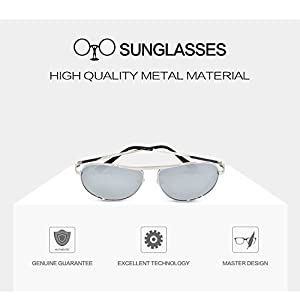 Premium Classic Metal Frame Driving Aviator Sunglasses with Mirrored Polarized Lens for Outdoor Driving Fishing (Silver, silver)