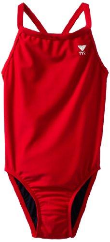 TYR Sport Girls' Solid Diamondback Swim Suit (Red, - Kids Tri Suit